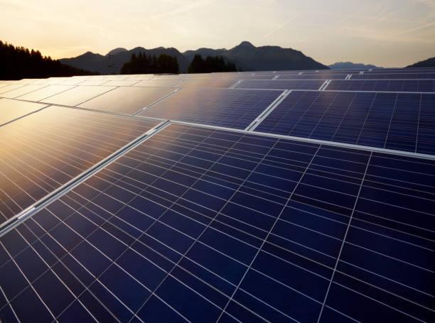 Champ de panneaux solaires au coucher du soleil