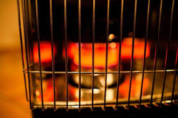 Gros plan sur un chauffage électrique allumé