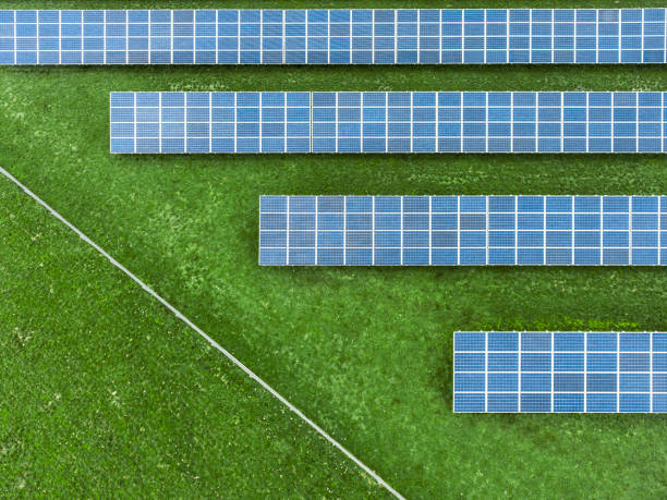 Panneaux solaires dans un champ, vus de haut